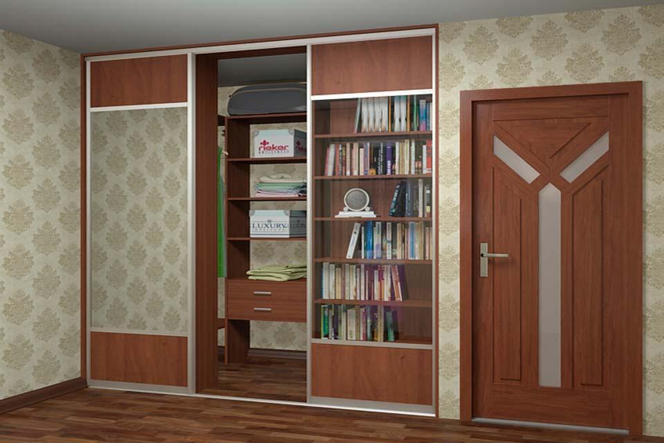 гардеробная с библиотекой в нише 3 кв м