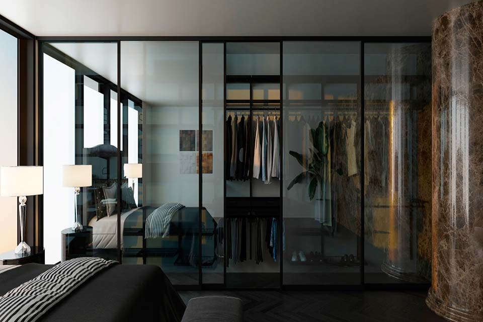гардеробная стеклянная, прозрачная гардеробная