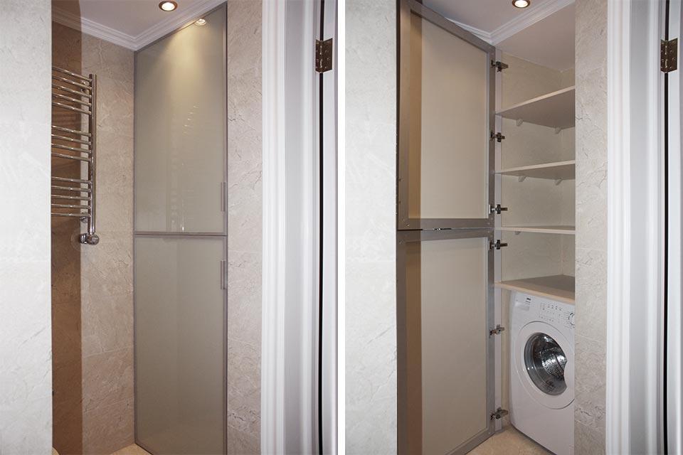шкаф под стиральную машину в ванной