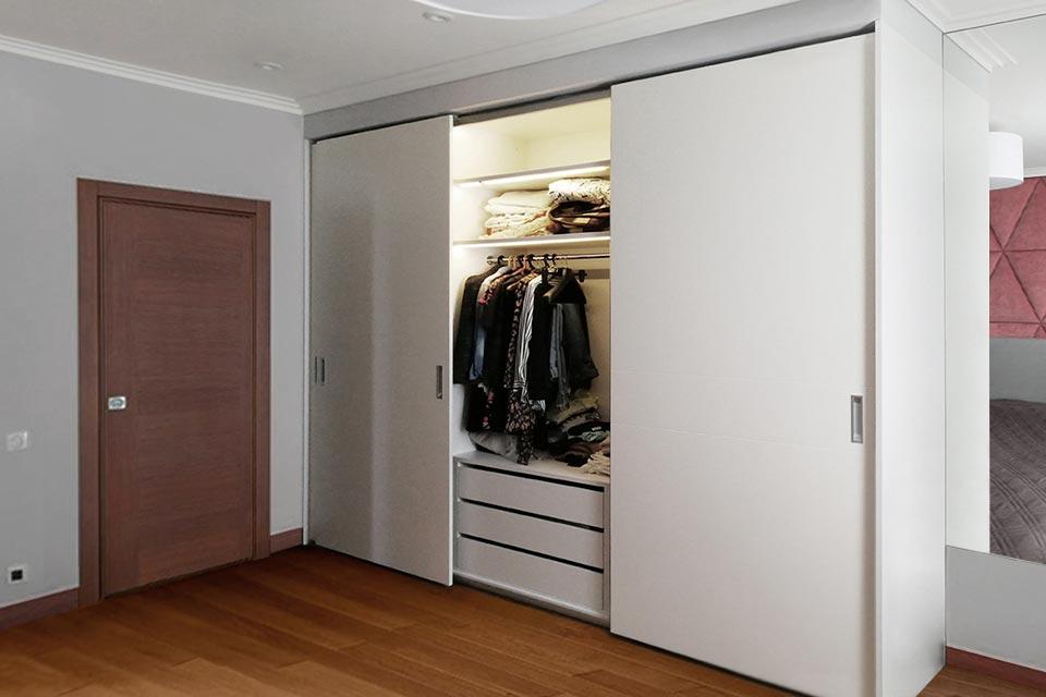 шкаф в спальню встроенный с подсветкой