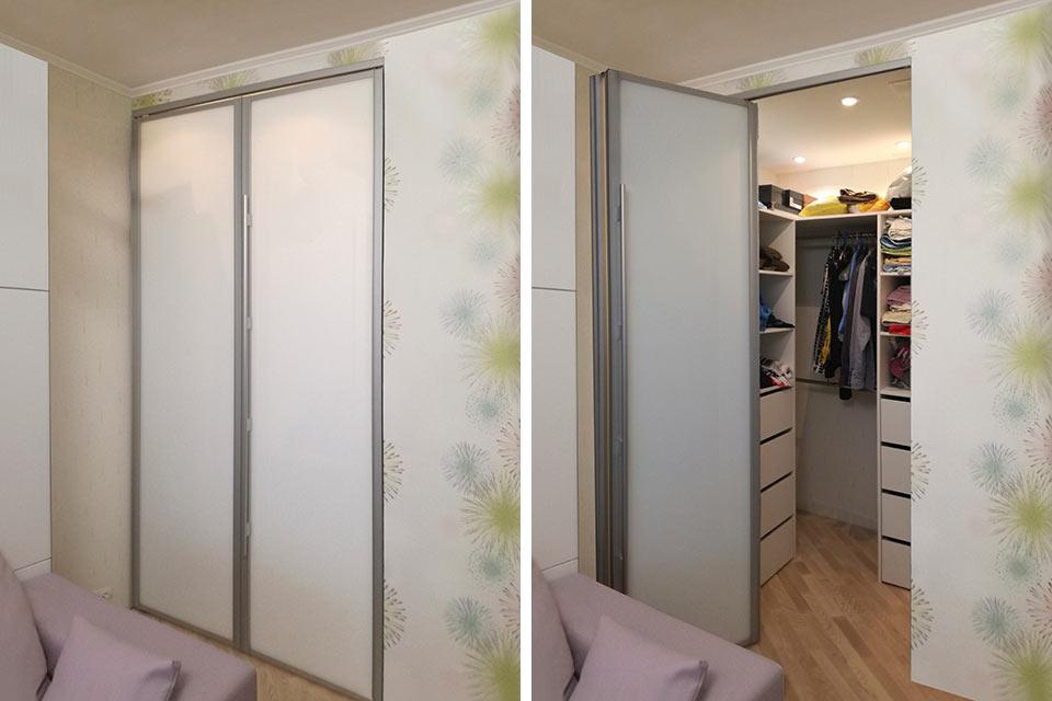 складная гардеробная, гардеробная со складной дверью