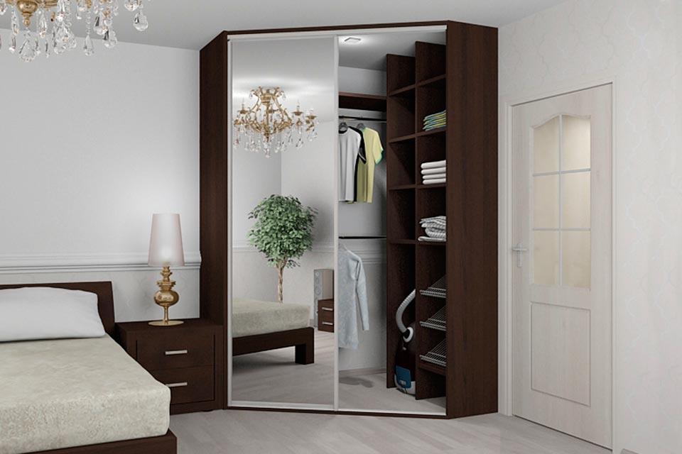 угловой шкаф купе с зеркалом угловая гардеробная в спальне