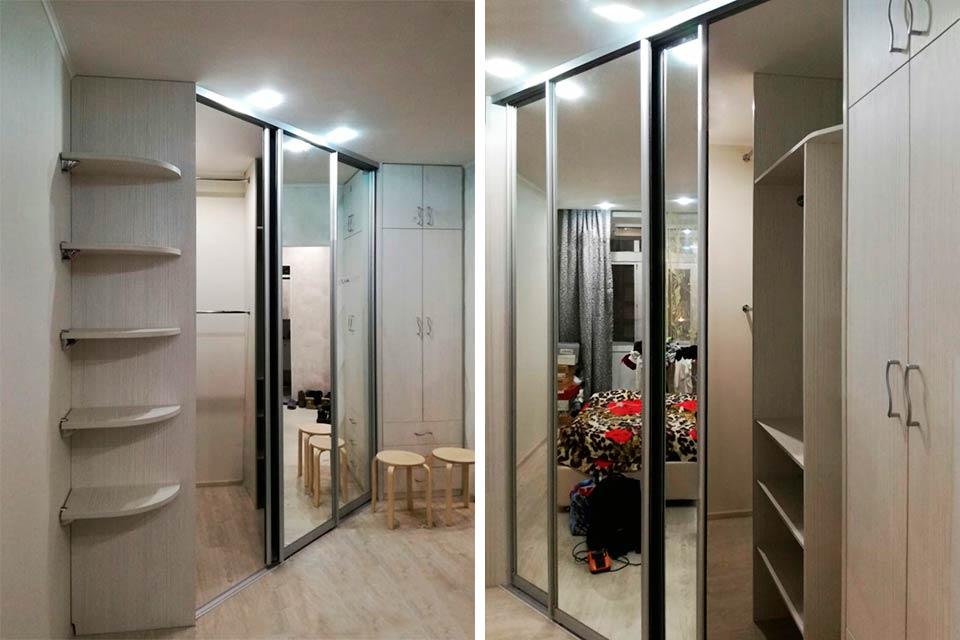 угловой шкаф купе в коридор, скошенная гардеробная в коридоре