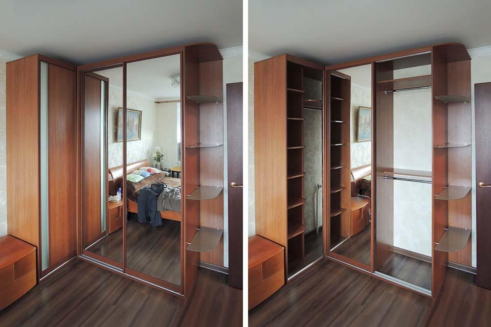 угловой шкаф с зеркалом в спальню